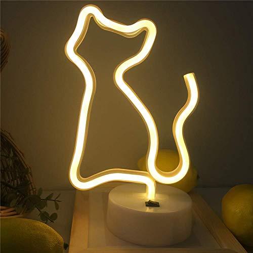 Chat LED Animal Néon Nuit Lumière Art Décoration Murale pour Enfants Décoratif Lumière Art Chambre De Bébé Anniversaire Comme Fournitures De Fête Cadeau Bébé (Chat Jaune)