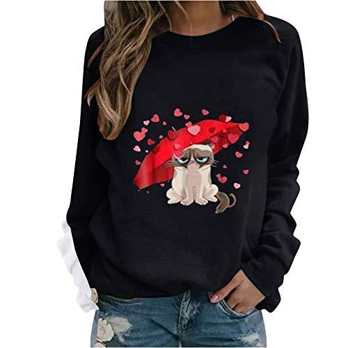 Kobay-Damen Neujahr Herbst Winter Modetrend Hohe Qualität Valentinstag Print Cool Sweatshirt Lässig Loose Langarm Crop Patchwork Bluse Pullover Frühling Tops
