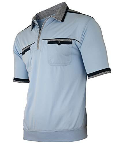Soltice Herren Kurzarm Poloshirt, Polohemd, Gestreifte Blousonshirt mit Brusttasche aus Baumwoll-Mix, Größe M bis 3XL (L, [C] SkyBlue)