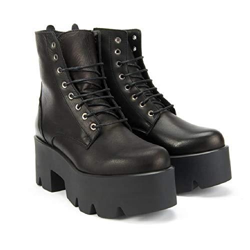 Altercore Janet Mujer Chunky Botas Negro Cuero Plataforma Botines Zapatos