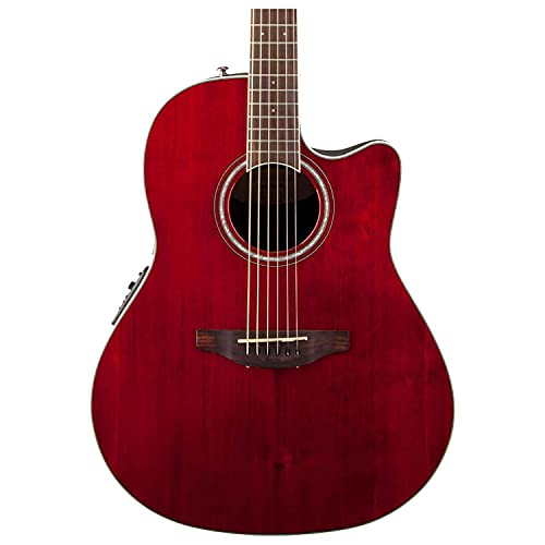 Ovation CS24-RR Celebrity Standard Mid-Depth Ruby Red Acoustic/Electric Guitar w