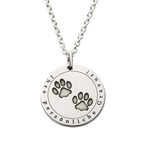 Hals-Kette echt Silber 925 mit Gravur - Pfoten Tatzen Hund Hundepfoten Geschenk zum Geburtstag (M - 20mm Durchmesser)