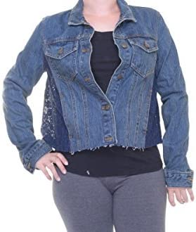 FREE PEOPLE Lace-Trimmed Denim Beauty products M gift Jacket
