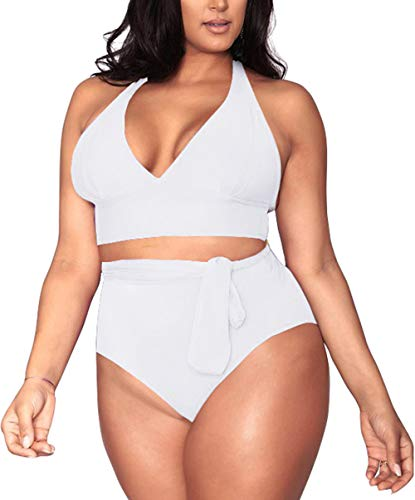 Women's 2 Pieces Plus Size Swimwear High Waist Halter Bikini Swimsuits White 3XL