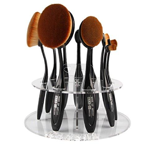 Yistu support pour brosse de maquillage, 10 trous ovale de Organiseur Cosmétique étagère