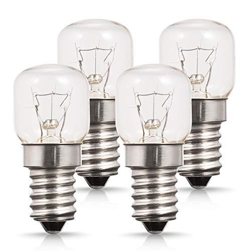 4X E14 25W Backofenlampe, Techgomade Ofen Glühbirnen, Kleine Edison Screw Base, Wolframlicht, 200LM, 2700K Warmweiß, 360 Grad Abstrahlwinkel, Bis 300°C Hitzebeständiges, Dimmbar
