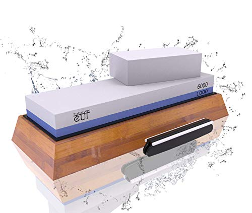 Knife Sharpening Stone Kit - 2 Side Whetstone Set 1000/6000 Grit Sharpening and Honing Waterstone Best Wet Sharpener for Chefs and Kitchen Knife Anti-slip Base Angle Guide & Flattening Stone