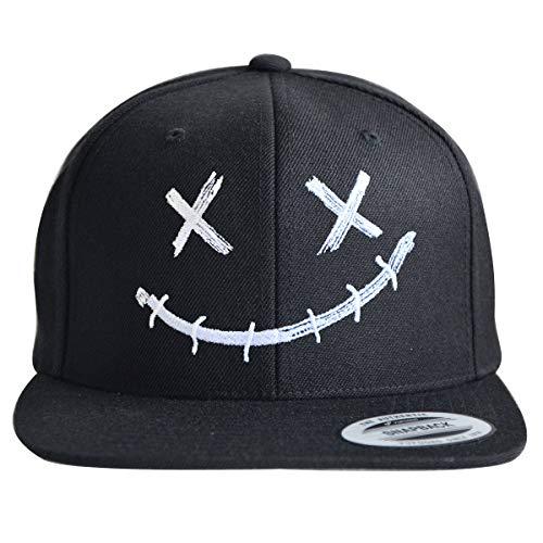 ** Snapback ** | Coole Cap für Herren und Damen | XX Smile Motiv | Basecap hochwertig Bestickt | Flexfit Caps (Black/Black)