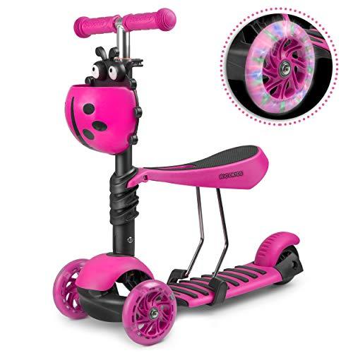 Ricokids LED Scooter Kinderroller Cityroller Tretroller Klappbar 3 Räder Buggy (rosa)