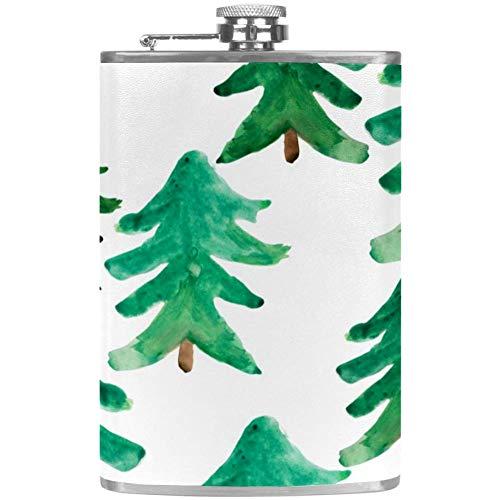 Flagon Flachmann für Alkohol / Whiskey / Wein / Scotch Flask aus Edelstahl, faltbar, auslaufsicher, für Barware / Drink / Outdoor / Trichter / grüner Weihnachtsbaum