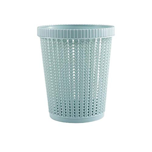 Quaanti Round Rattan Waste Basket,Hollow Pattern Garbage Container Bin Storage Basket with Built-in Trash Bag Box, Solid Color Paper Basket Trash Can Dustbin for Bathroom,Kitchen,Office (Blue)