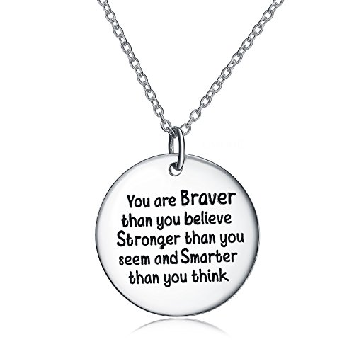UMODE Inspirational Necklace for Kids, 925 Silver Quote Necklaces for Girls/Teens, Engraved You are Brave Than You Believe for Women