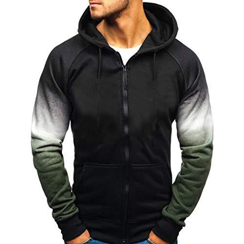 Tefamore Sweatjacke Herren Zip Hood Pullover Winterjacken Hoodies Männer Steigung Gedruckt Kapuzenpullover(Grün,XL)