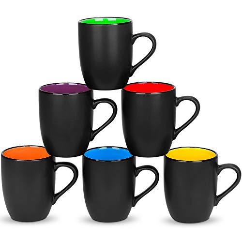 6 Pack Large Coffee Mug Set 16 Ounces, DeeCoo Matte Black Porcelain Mug - DeeCoo Large-sized Ceramic Restaurant Drinking Cups for Coffee, Tea, Juice, Cocoa