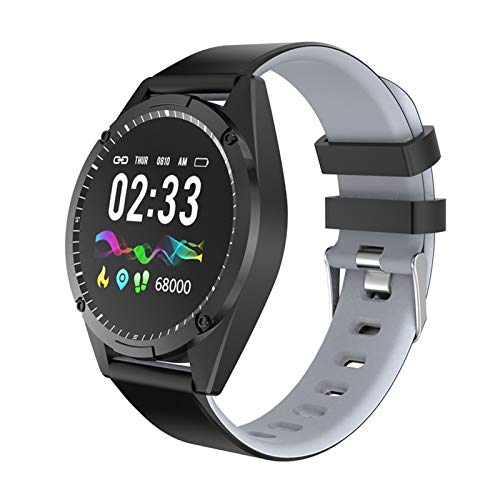 LYB Reloj inteligente G50 para hombre, presión arterial, fitness, impermeable, reloj inteligente para mujer, pantalla a color, Android IOS Smartwatch (color: gris)