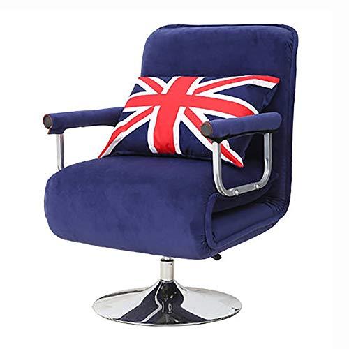 GJX Silla del Ocio Almuerzo Inicio Silla de Oficina sueño reclinable Nap Artefacto Plegable, Regulable en Altura, rotación de 360 Grados (Color : Blue)