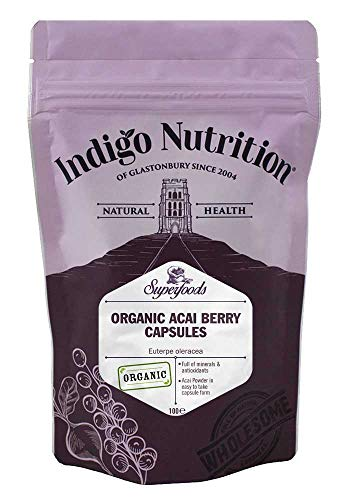 Indigo Herbs Organic Acai Berry Capsules 500mg | 100 Vegan Caps | GMO Free | No Binders or Fillers