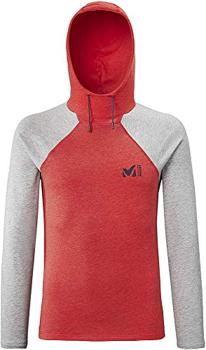MILLET Red Wall Light Hoodie M Tricot Homme, Multicolore (Fire/Heather Grey), S
