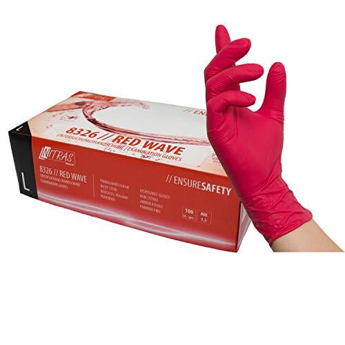 rote Nitrilhandschuhe, Einweghandschuhe 100 Stück 1 Box Einmalhandschuhe, Untersuchungshandschuhe, Nitril Handschuhe, puderfrei, ohne Latex, unsteril, latexfrei, disposible gloves (L)
