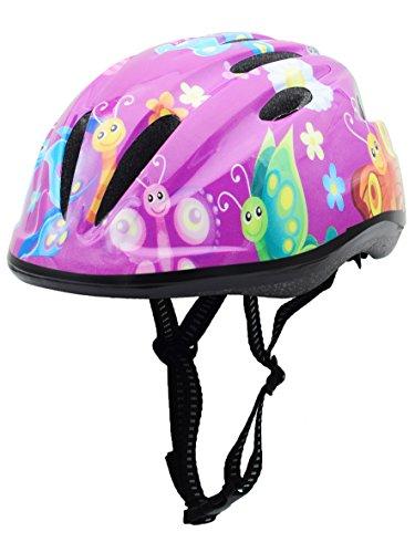 BeBeFun Pink Girl Toddler and Kids Multi-Sport Bike Super Lightweight Helmet (Butterfly Windmill)