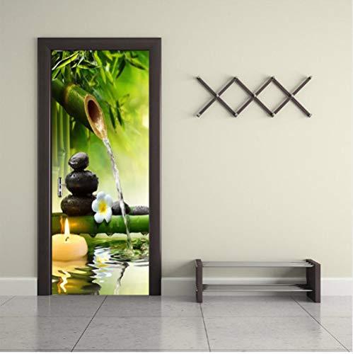 SFALHX 3D Türaufkleber Wandbild türposter Stein, Bambus, Orchidee, Landschaft des flüssigen Wassers 3D Türaufkleber PVC Selbstklebende Tür Wandbild Wandaufkleber Poster Fototapete 88x200cm
