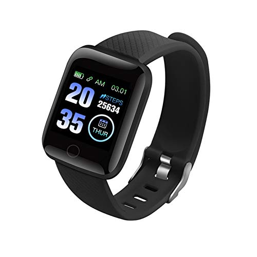 YDL Reloj Inteligente Hombres Mujer Smartwatch Bluetooth Presión Arterial Medición Ritmo Cardíaco Monitor Deporte Relojes Inteligentes Android iOS (Color : Black)