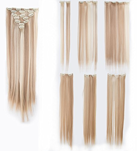 SWACC Women 22 Inches Straight Full Head 7 Separate Pieces Heat Resistance Synthetic Hair Clip in Hair Extensions (Dark Honey Blonde/Bleach Blonde Highlights-16H613)