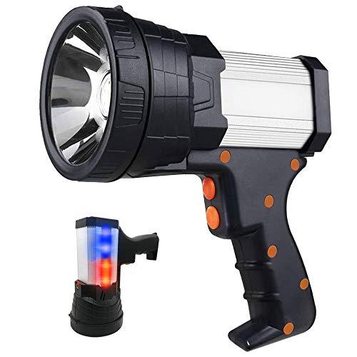 Super Bright Spotlight Rechargeable Flashlight Handheld Spotlight Flashlight 6000 Lumen 10000mAh Brightest Large Flashlight Rechargeable Searchlight with Power Bank Function amp Foldable Tripod