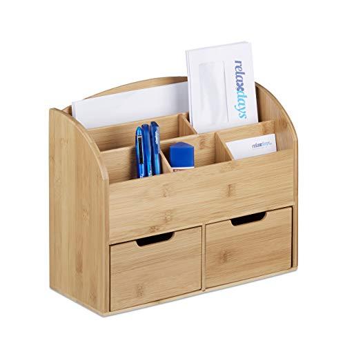 Relaxdays Schreibtisch-Organizer Bambus, Briefablage, 6 Fächer, 2 Schubladen, natürliche Maserung, H x B x T: 25,5 x 33 x 13,5 cm, natur