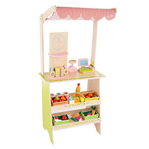 Hey! Play! Kids Fresh Market Selling Stand– Wooden Grocery Store Playset with Toy Cash Register  Pretend Credit Card and 31 Food Accessories