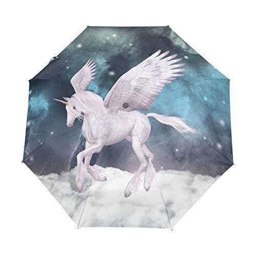 Kleiner Reiseschirm Winddicht im Freien Regen Sonne UV Auto Compact 3-Fach Regenschirm Abdeckung - Fairy Pegasus White Unicorn Pattern
