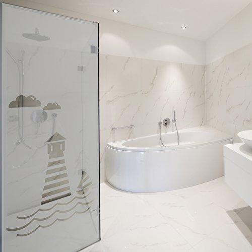 WANDKINGS Milchglasfolie Leuchtturm Motiv 199 x 61 cm (H x B) für Fenster, Glastüren, Duschen & mehr