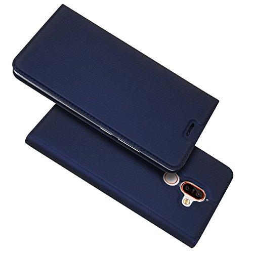 xifanzi Funda Cuero para Nokia 7 Plus Azul PU Leather con Case Interna Suave Carcasa Libro de Cuero con Tapa y Cartera Soporte Plegable Ranuras para Tarjetas y Billetera Flip Cubrir para Nokia 7 Plus