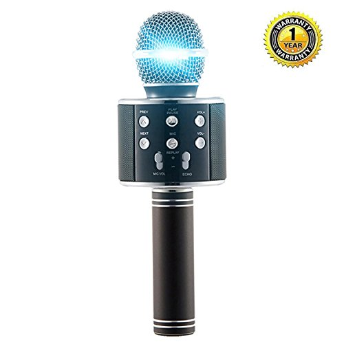 Karaoke Microphone Wireless with Bluetooth Speaker for iPhone Android PC Smartphone Portable Handheld Microphone for Singing Recording Interviews or Kids Home KTV Party - Black