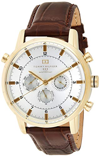 Tommy Hilfiger Men's Gold-Tone Watch with Brown Leather Band -$98.98(36% Off)