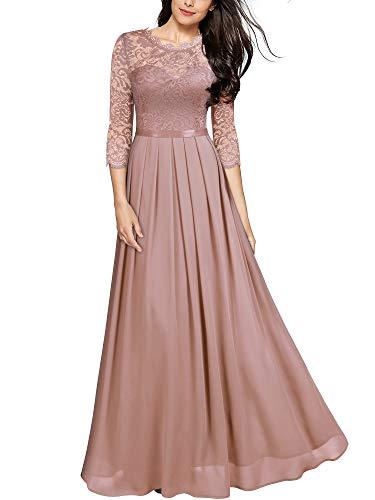 MIUSOL Damen Elegant Halbarm Rundhals Vintage Spitzenkleid Hochzeit Chiffon Faltenrock Langes Kleid Rosa Gr.XL