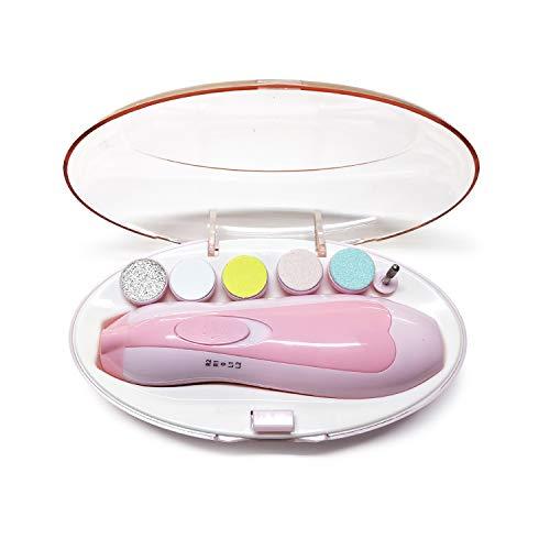 Kidoo - Lima de Uñas Eléctrica - Manicura y Pedicura - LED 6 en 1 | Cuidado, Pulido y Recorte para Bebés y Adultos | Torno Eléctrico Portátil - Limas Acolchadas - Cortadora de Uñas Premium (Rosa)