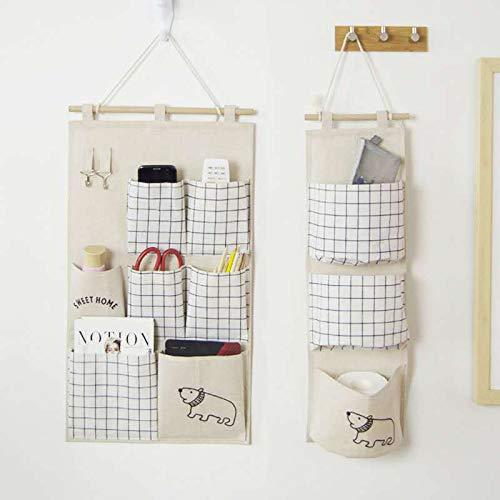DecentGadget - 2 sacchetti da appendere alla porta, in cotone e lino, per stanza da bagno, 3 tasche, 7 tasche, colore: beige