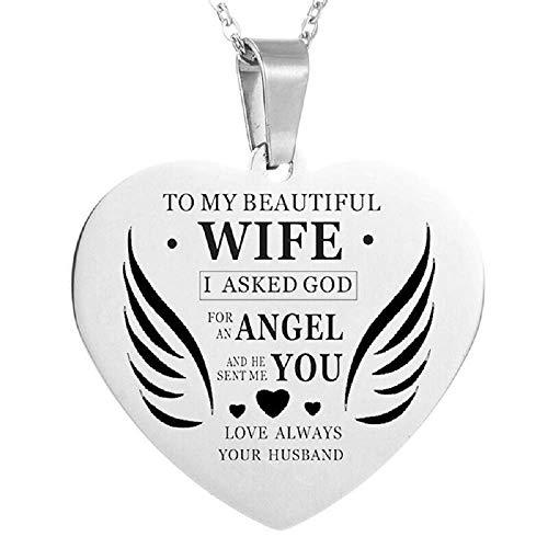 Ketting - vrouw - hart - hanger - huwelijk - paar - familie - valentijnsdag - feest - moeder - zilver - vrouw - engelen - vleugels - toewijding to my beautiful wife