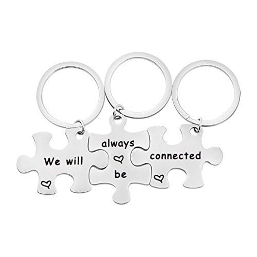 bobauna We Will Always Be Connected Puzzle Keychain Set of 3 Long Distance Gift for Best Friends Sisters (Puzzle Keychain Set of 3)