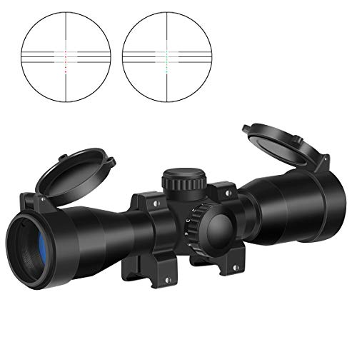 MA3TY 4x32 Crossbow Scope, 5 RGB Retical Red Green Illuminated Mount Included