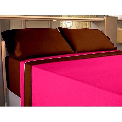 Andatex Juego de Sábana - 135cm - Rosa/Marrón - Bicolor - Tacto Seda - Microfibra