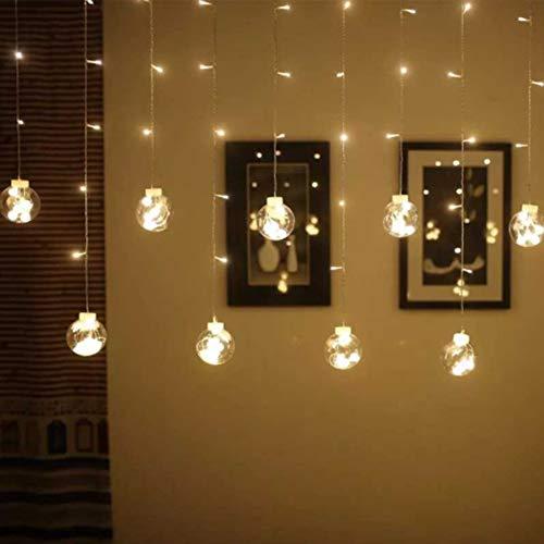 GGKLY Gordijnverlichting, led-gordijnlichtsnoer, Wish Ball Lights, decoratieve binnen- en buitenverlichting, 3 M138-lampkralen IP55, waterdicht, voor binnen en buiten/festivaldecoratie