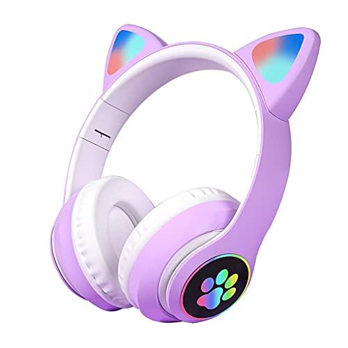Auriculares para Auriculares para Gatos Auriculares Plegables inalámbricos LED luz HiFi Profundo Bluetooth Auriculares Bluetooth Folleable MICT TF TARD...