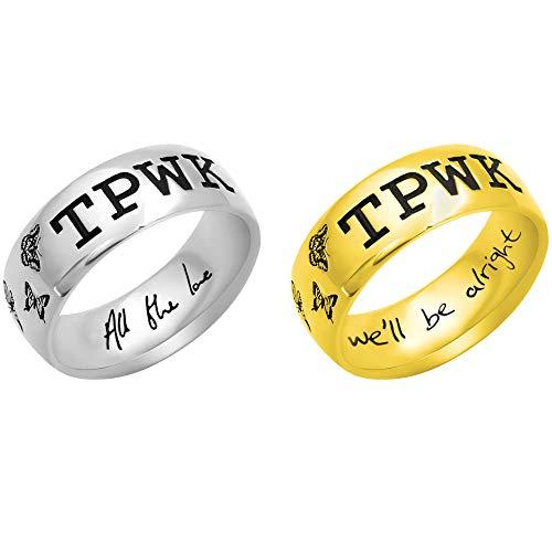 Anillos personalizados de Harry Styles TPWK con grabado de plata de ley 925/cobre, 5 estilos de fuente disponibles anillo personalizado para ella niña