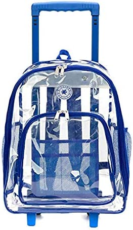 Rolling Clear Backpack Heavy Duty Bookbag See thru Workbag Travel Daypack Transparent School product image