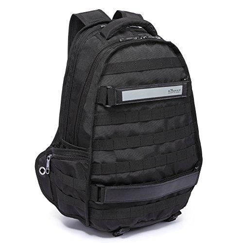 KAUKKO Rucksack Damen Herren Studenten Backpack Multifunktionl Laptop Rucksack Wanderrucksäcke Schultaschen für 15-17 Zoll Notebook (Schwarz JNL-38-03-FBA)