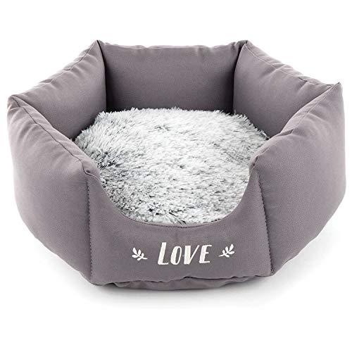 Corbeille Panier Chien octogonale Douce et Confortable Coussin Amovible Chaud à Poils et Inscription Love (Gris 55cm)