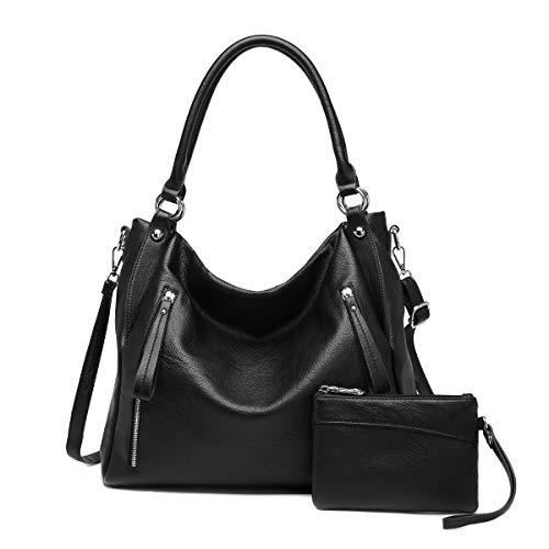 Women Handbags Shoulder Bags PU Leather Satchel Tote Bag Mutipocket Purse (K.EYRE#KL7219#U8388#401-BLACK)