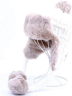 be3ac96c685f1 HappyShopDecoration Women Trapper Hats Winter Warm Faux Fox Fur Bomber Hat  Russian Ushanka Beanies Wool Knit